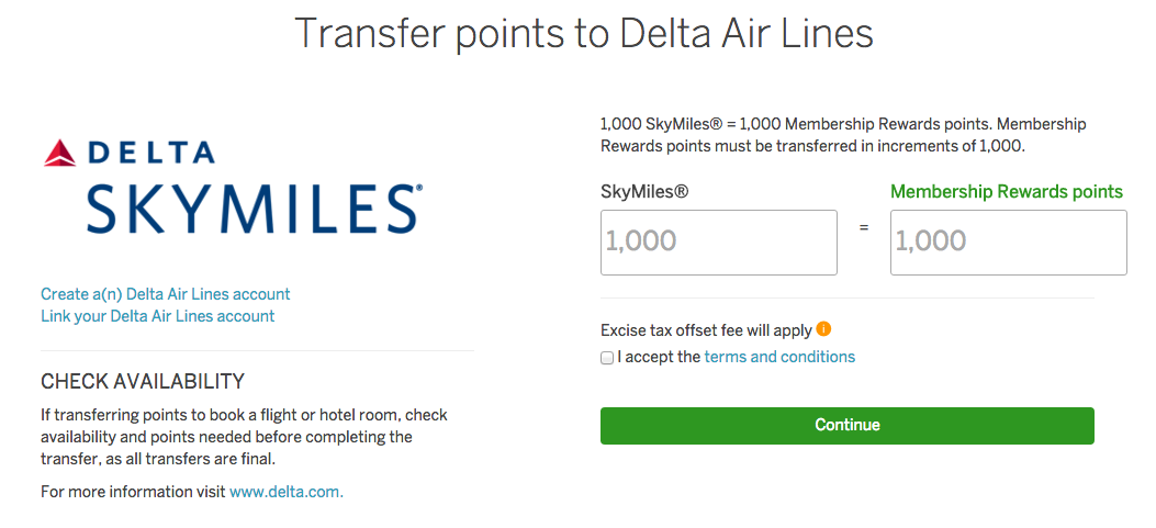 Transer American Express points to Delta Skymiles