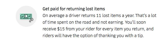 Uber Lost Item $15